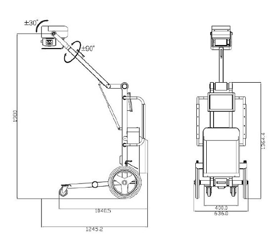 1) 操作面板     2) 电源因子控制器电路和逆变器     3) X光